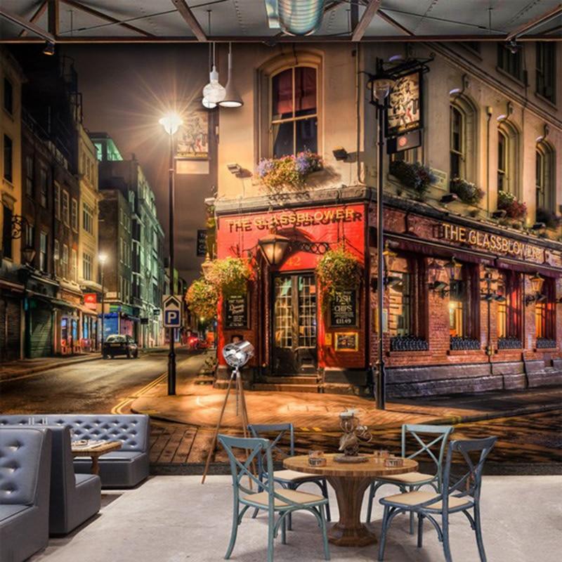Custom 3D Wall Mural City Night View Wallpaper Bar Cafe Restaurant Backdrop Wall Decoration Fresco Papel De Parede 3D Paisagem