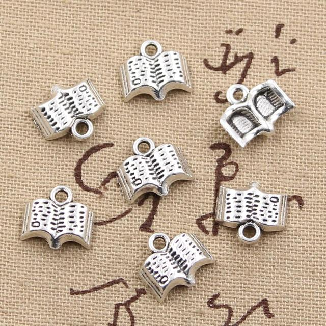 99Cents 12pcs Charms open book 11mm Antique Making pendant fit,Vintage Tibetan Silver,DIY bracelet necklace