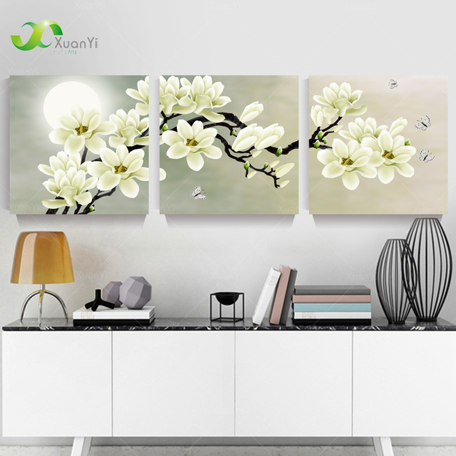 3 panel modern abstract flower painting on canvas wall art. Black Bedroom Furniture Sets. Home Design Ideas