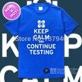 O Envio gratuito de Alta Qualidade Novo 100% Algodão Impressão Casual Solto Moda T-shirt T Mantenha a calma e continuar os testes portal 2