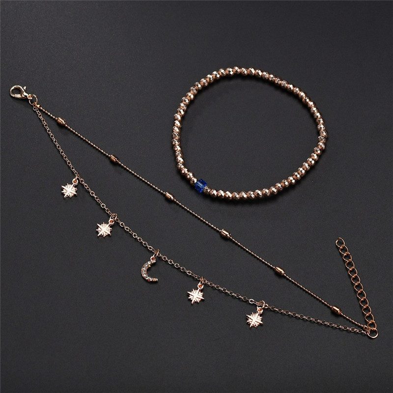 ZORCVENS 2020 Boho Style Star Moon Anklet Fashion Multilayer Foot Chain New Ankle Bracelet for Women Beach Accessories Gift 3