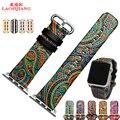 Laopijiang high-grade pu watch strap alternativa apple watch strap criativo relevo stripe 38/42mm