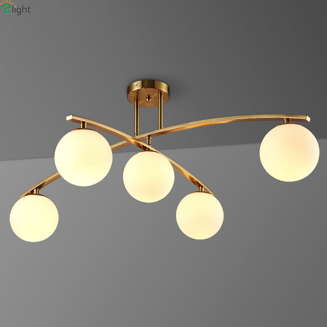 Post Moderne Verre Rotatif Led Plafond Lustres Luminaires Lustre Or