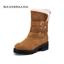 BASSIRIANA Moda 2017 Nuevo Invierno de cuero genuino Warm Winter Botas de Nieve Botas Mujer Zapatos de Los Planos de Alta Calidad