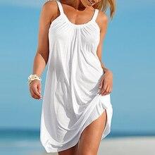 Летний пляж платье ремень свободный сексуальный жилет платье женщин без рукавов сарафан случайные плюс размер короткое белое платье черные платья