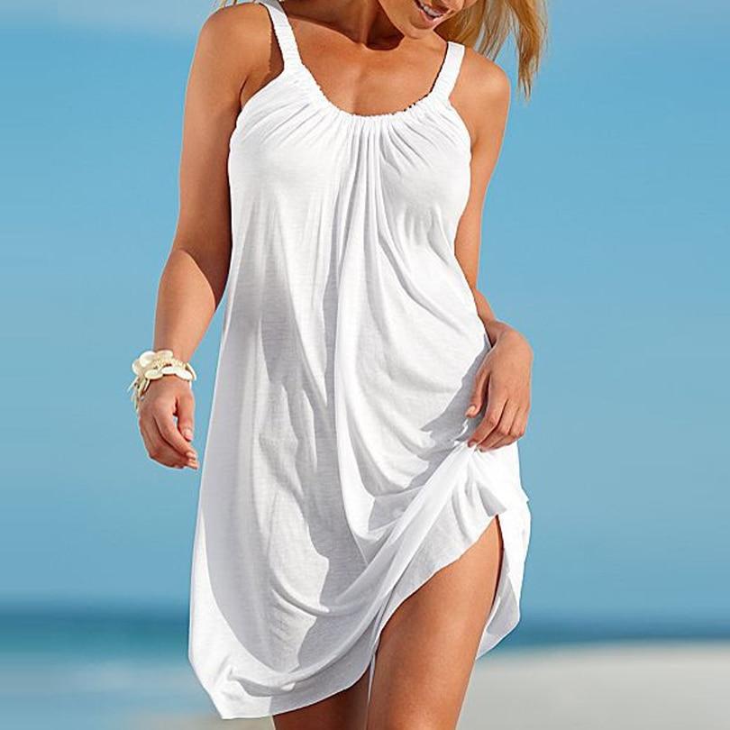 Summer Beach Dress Boho Strap Loose Sexy Vest Dress Women Sleeveless Sundress Casual Plus Size Short White Dress Black Vestidos