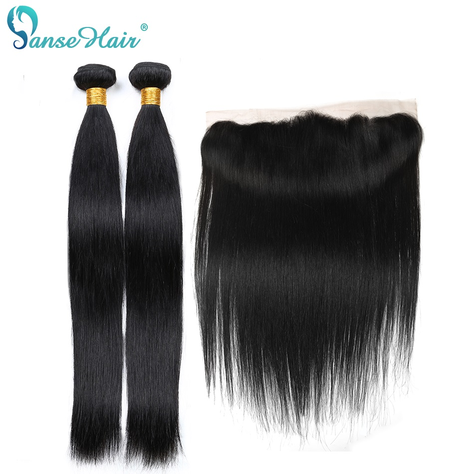 Panse Hair Brazilian Straight Human Hair Bundles Extension Two Bundles With One 13x4 Lace Frontal Non Remy Hair Free Shipping