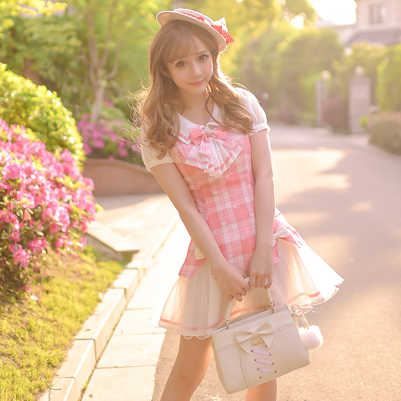 Princess sweet lolita dress Candy rain 2016 summer new sweet checked new college wind fake two