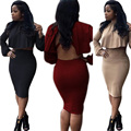 New Autumn Winter Long Sleeve Crop Top 2 Piece Set Women Club Party Bandage Dresses Sexy Backless Bodycon Dress Vestido
