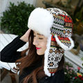 Fashion Classic Women Snowflake Winter Earflap Hat Hot Sale Trapper Hat for Ladies Warm Fur Trooper Hat High Quality Bomber Hat