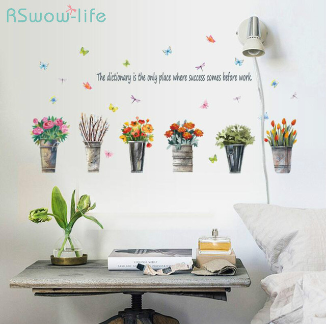 Home Decoration Stickers Retro Iron Bucket Potted Wall Sticker Bedroom Living Room Background Decoration Sticker For Home Decor