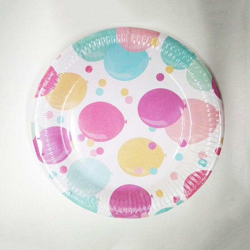 Assiettes en papier jetables 120 pièces | Ballon coloré plats à gâteau ronds, vaisselle de table, fournitures de vente en gros