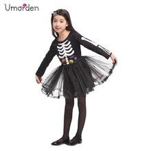 Umorden Halloween Costumes for Girl Girls Scary Skull Skeleton Dress Costume Bones Ballerina Cosplay Fantasia Set