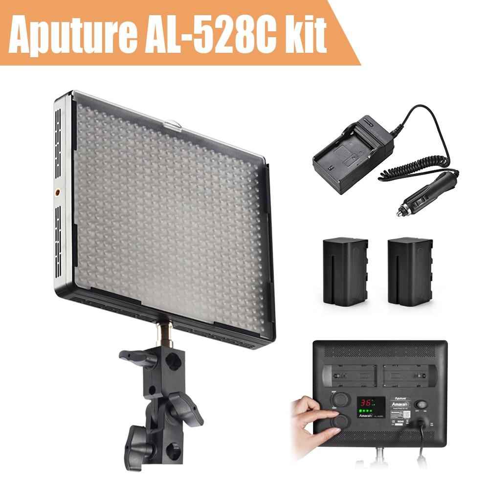 Aputure Amaran AL-528C Led Video Light Kit CIR 95+ 528pcs LED Studio Light + Battery Charger+2 x Battery Pack + aputure amaran hr672kit led video light set led photography light led light hr672wws kit
