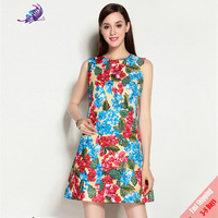 2017 Runway Designer Dresses Newest High Quality Women S Sleeveless Floral Printed Leaf Beading Summer Dress