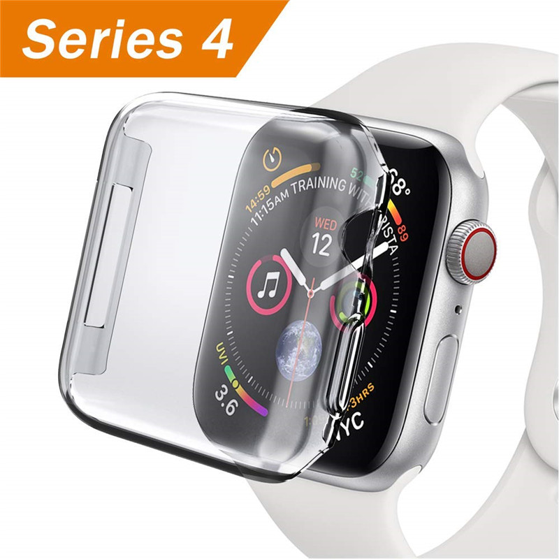 цена на Accessory for Apple Watch Series 4 Case Screen Protector 44mm 40mm Soft Slim Full-Around Protective for iWatch 4 Clear TPU Cover