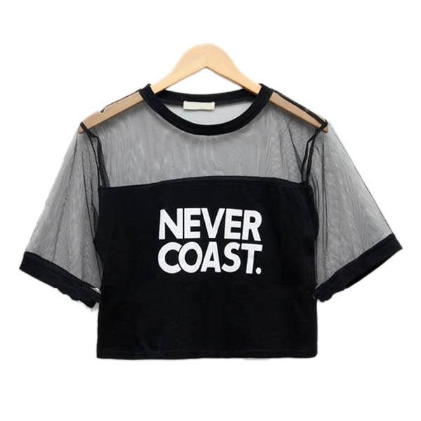 Móda 2019 Nové sexy ženy dívky volný dopis tištěné oříznutí horní tričko posádky krku průsvitné gázy