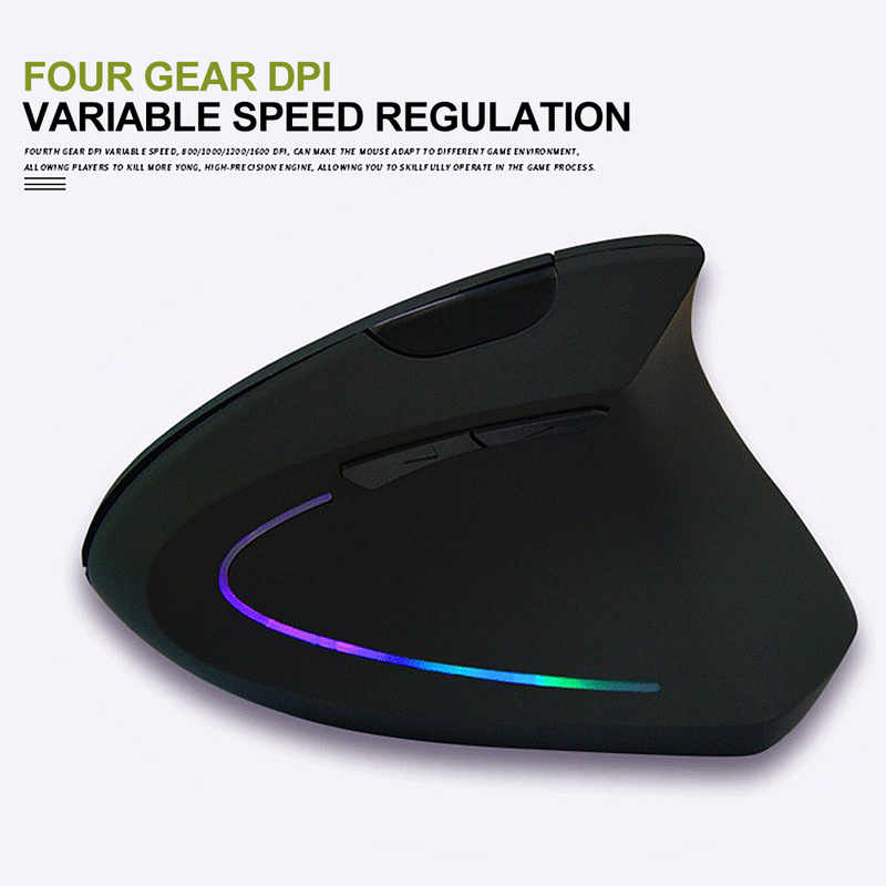 Untuk PC Laptop Desktop PC Shark Fin Ergonomis Vertikal Mouse Nirkabel 2.4 GHZ Wireless Gaming Mouse USB Receiver Pro Gamer tikus