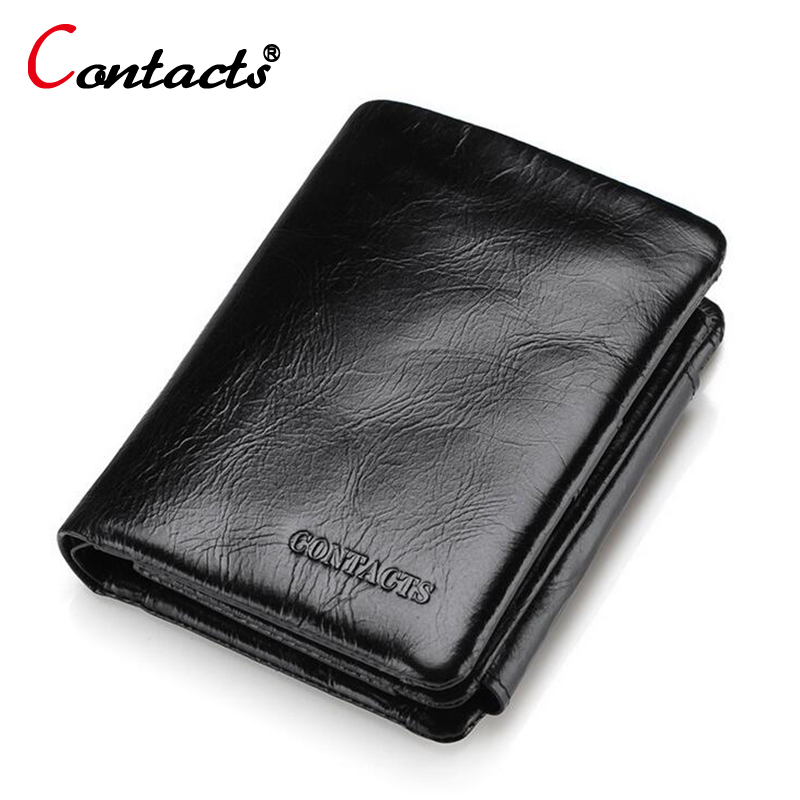 CONTACT'S Genuine Leather Men Wallet Large Capacity Short Male clutch coin Purses Card Holder Pockets Wallets famous Barnd black 2017 men business short leather wallet male brand wallets purses with card holder for men