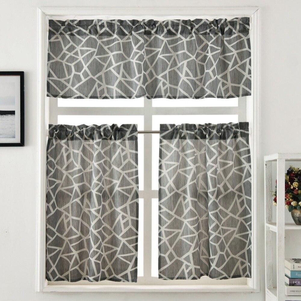 Kitchen Curtain Jacquard Design Rod Pocket Short Curtain