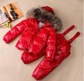 Conjunto de moda de ropa para niños abajo cubre niño grande collar piel down abrigo de piel verdadera calidad pato de Alta grado traje térmico