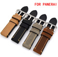 1PCS 20mm 22mm 24mm 26mm  genuine leather Crazy horse leather Watch band man watch strap  black grey Yellow green For Panerai