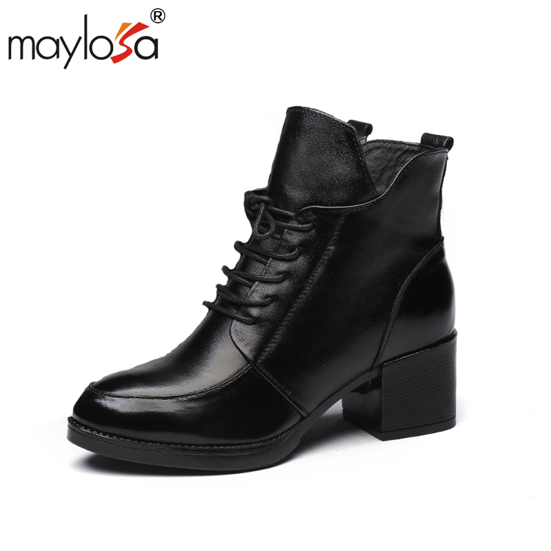 MAYLOSA Ankle Boots women Genuine Leather Snow Boots Winter Fur Ankle Boots Casual Warm Shoes maylosa summer spring women boots with hole genuine leather feminina casual boots good quality handmade casual lady shoes