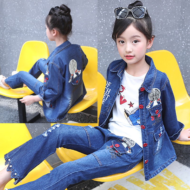 Children 39 s wear girls 39 cowboy suit spring and autumn clothing 2018 girls students denim two sets 3 year to 8 year girl jeans set in Clothing Sets from Mother amp Kids
