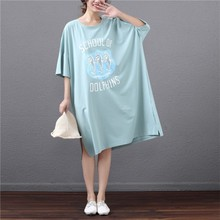 Summer 2019 New Plus-size Tshirt Women's Short Sleeve Printing Loose-fitting Top Korean Version Long Cotton T-shirt sequined stripe long sleeve loose fitting t shirt
