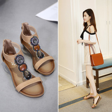 New national womens sandals 2019 summer Roman shoes large size wedge with casual fashion