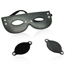 Black PU leather dual use open eye mask with disassembly cover adult game sex toy SM head restraint bondage for men women couple