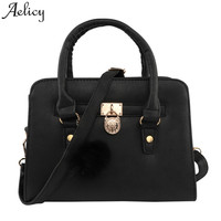 Aelicy Fashion Black PU Leather Handbag Sequins Hair Ball Vintage Shoulder Bags Lady Small Messenger Bag