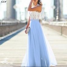 KLV Summer Lace Stitching Chiffon Dress Lady Lace Hollow Out Beach Maxi Dress Women Sleeveless Boho Maxi Dress