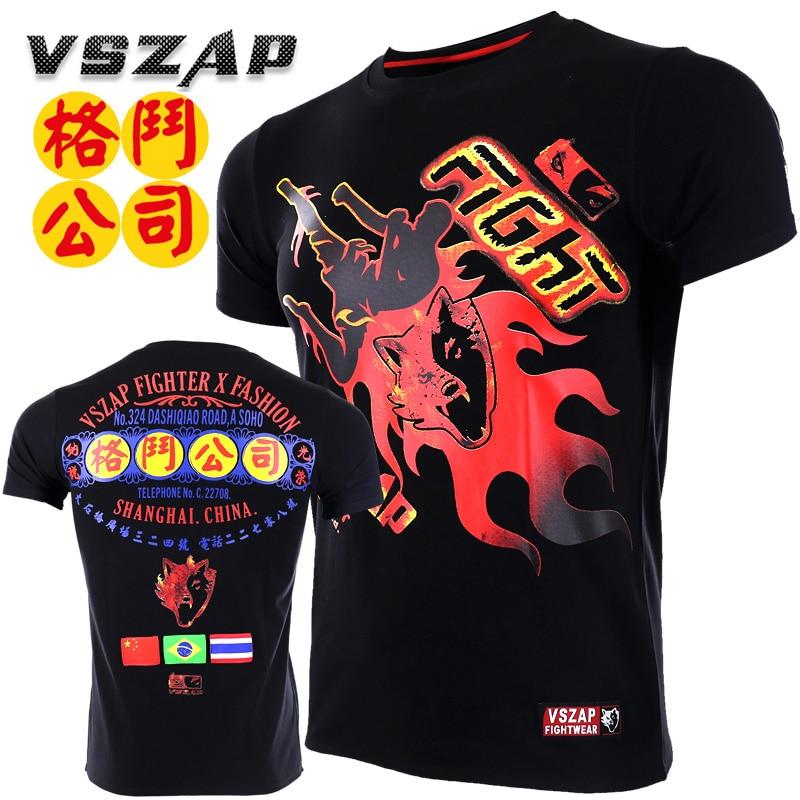 VSZAP Bangkok Muay Thai T Shirt Men Homme Boxing MMA T Shirt Gym Tee Shirt Fighting Fight Martial Arts Fitness Training