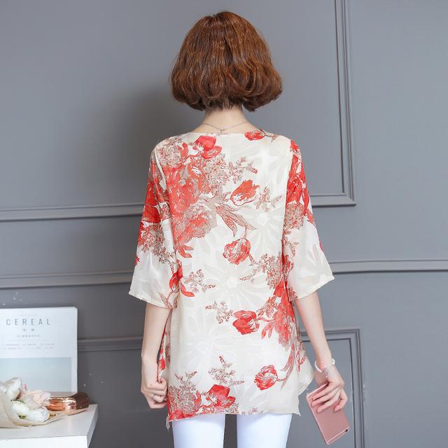 Women Blouses And Shirts 2018 casual half Sleeve fashion floral print Chiffon Blouse Plus Size Ladies Tops  Shirt kimono M-4XL