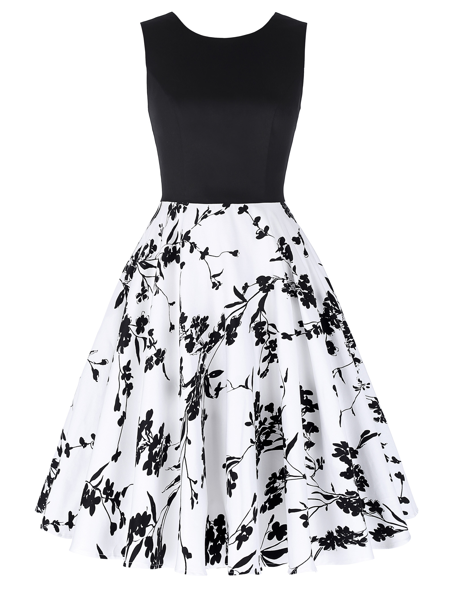 Summer Retro 50s Vintage Floral Printed Swing Dress 1950s Dance Evening Formal V-Neck Tank Knee-Length Dresses