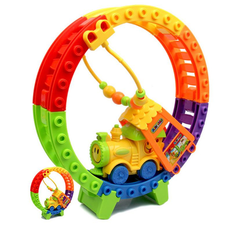 Rail Car Toys Small Train Assembled Puzzle DIY Children Kids Intelligence Development Electric Toys Outdoor Beach Toys