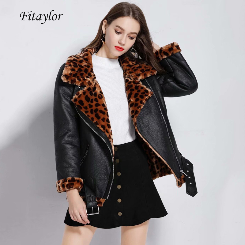 Fitaylor Women Faux   Leather   Lambs Wool Fur Collar Jacket Coats Female Warm Thick Leopard Print Faux Lamb   Leather   Loose Outerwear