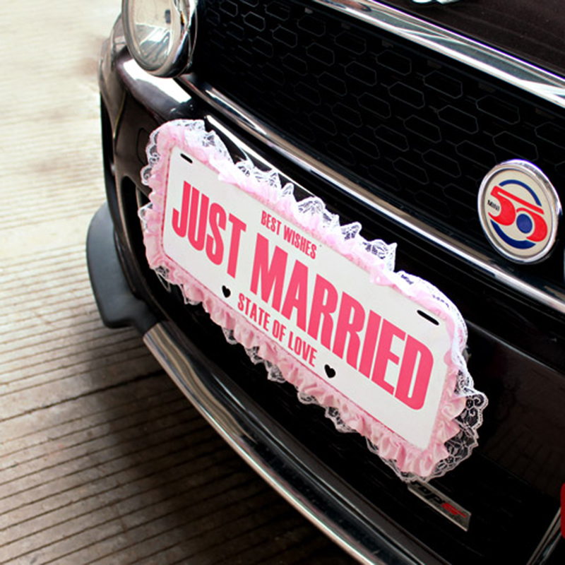 1pcs Just Married Wedding Car Decorations Wedding & Engagement Plate Number Hangtag Sign Motorcade Car Decor Supplies