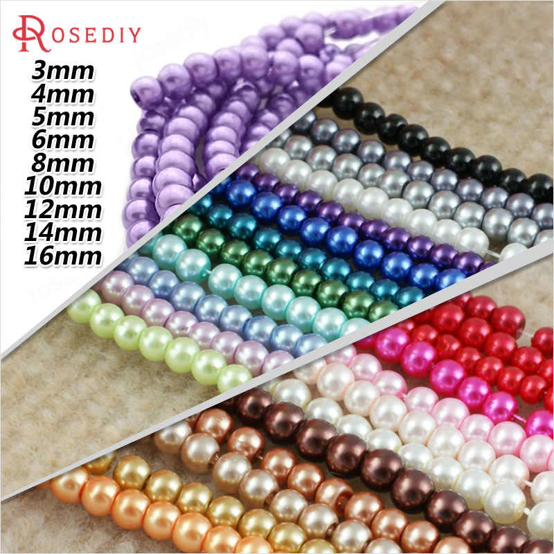 3/4/5/6/8/10/12/14/16MM Glass Dyeing Color Round Imitation Pearls Beads Diy Jewelry Earrings Bracelets Findings Accessories