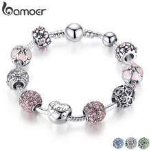 BAMOER Antique Silver Charm Bracelet & Bangle with Love and Flower Beads Women Wedding Jewelry 4 Colors 18CM 20CM 21CM PA1455(China)