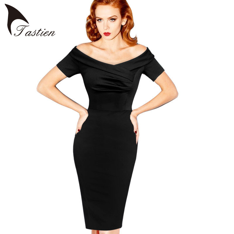 TASTIEN 2016 New Womens Summer Elegant Vintage Pinup Retro Rockabilly Sexy Off Shoulder Ruched Party Bodycon Sheath Wiggle Dress