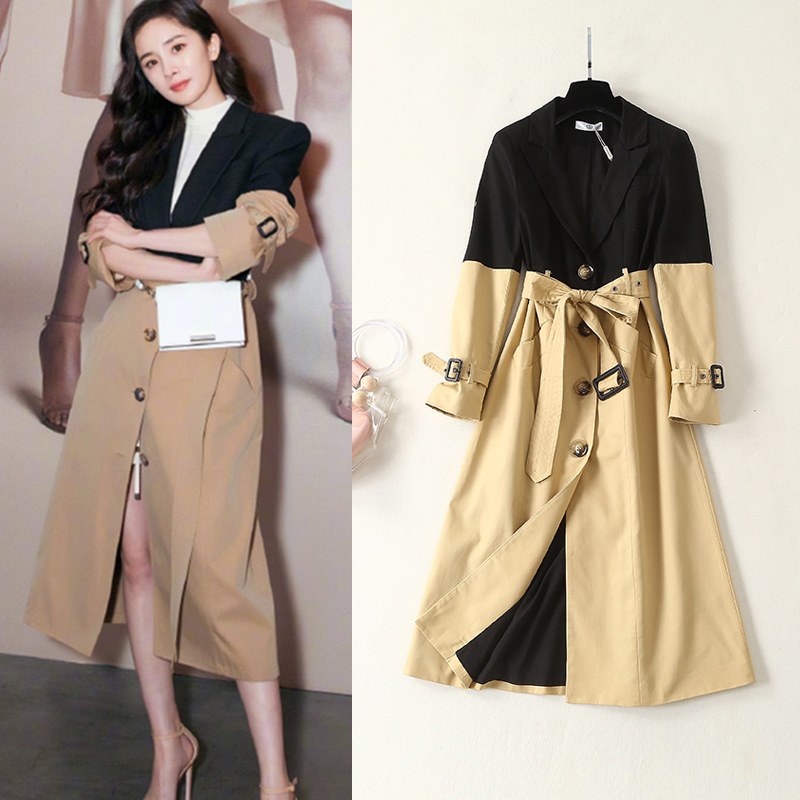 High quality slim fit womens Trench coat New 2019 spring patchwork overcoat Women Windbreaker A013