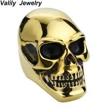 EdgLifU Cool Gold Stainless Steel Ring Skull For Man Unique Gothic Punk Retro Sport Biker Skeleton Male Finger Rings