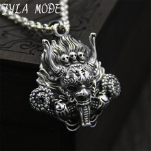 JINSE Dragon Head S925 Sterling Silver Mens Necklace Pendant Amulet Dragonfly Charms Pendants Punk 33*36MM 11G