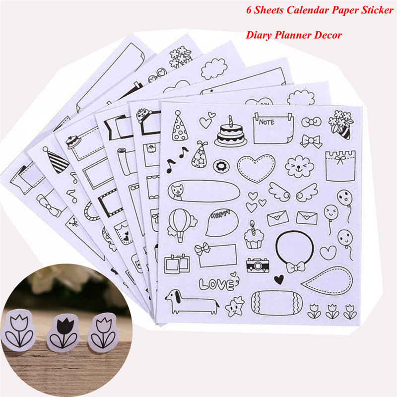 6 Sheets DIY kawaii Black Calendar Paper Sticker for scrapbooking calendar Diary Planner Sticky Photo Album Decor school supply aspirations of girl diy transparent clear rubber stamp seal paper craft photo album diary scrapbooking paper card rm 244