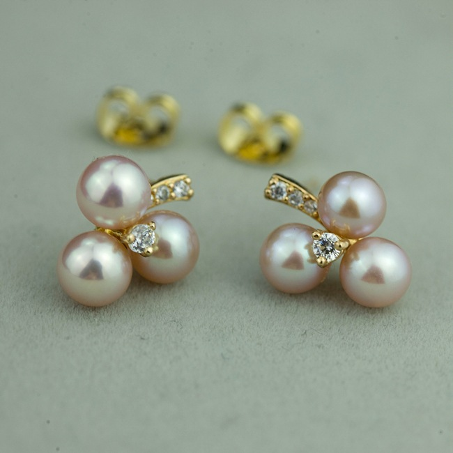 Clic Perfectly Round 5 6mm Pearl Earrings 100 Genuine Stud Silver Gold Rose Women In From Jewelry