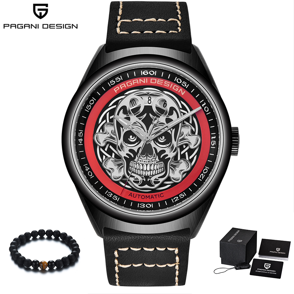 лучшая цена PAGANI Design 2018 Punk Skeleton Skull Men Luxury Watches Automatic Leather Band Mechanical Wrist Watch Men relogio masculino