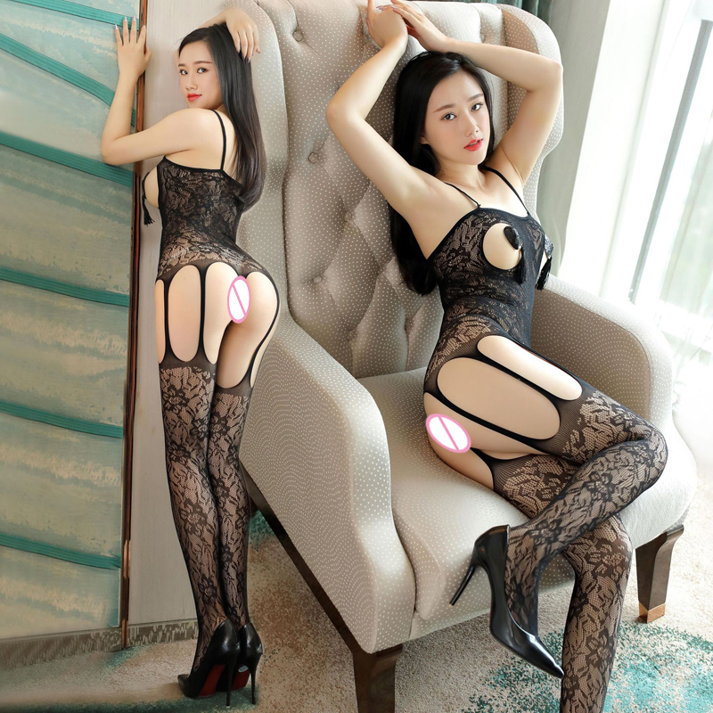 Buy Lace Body Suit Pantyhose Baby Doll Sexy Lingerie Bodysuit Women Open Bust Fishnet Bodystocking Latex Catsuit Costume Sex SC77
