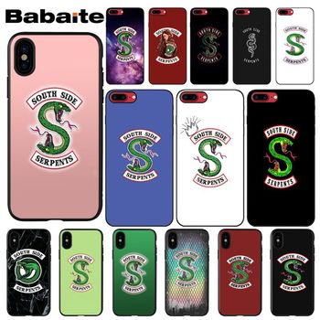 Babaite Riverdale South Side Serpents logo pattern black Phone Case for Apple iPhone 8 7 6 6S Plus X XS MAX 5 5S SE XR Cellphone image